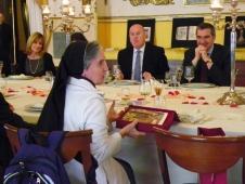 Un momento del pranzo al Caffè Pedrocchi